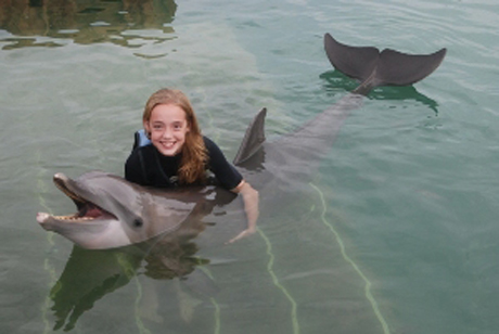 Katrina and dolphin, Fl 2012